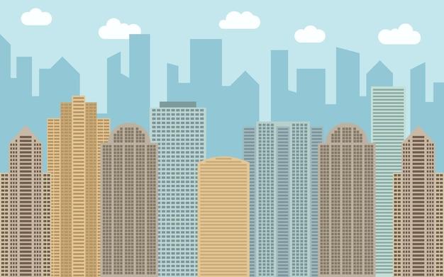 Ilustración de paisaje urbano de vector. vista a la calle con paisaje urbano, rascacielos y edificios modernos en un día soleado. espacio de la ciudad en concepto de fondo de estilo plano.