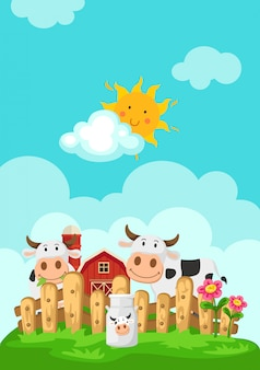 Ilustración del paisaje con las vacas y el fondo de la granja
