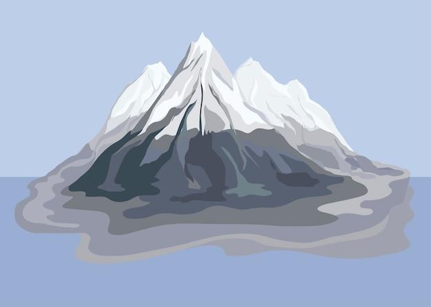 Ilustración de paisaje de vista de montaña pintado