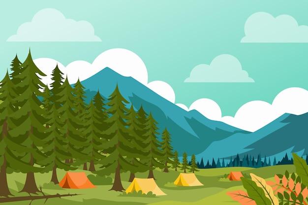 Ilustración de paisaje de zona de camping con bosque