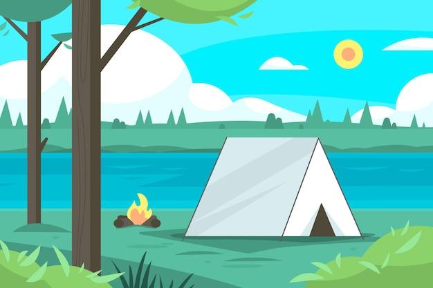 Ilustración de paisaje de zona de camping