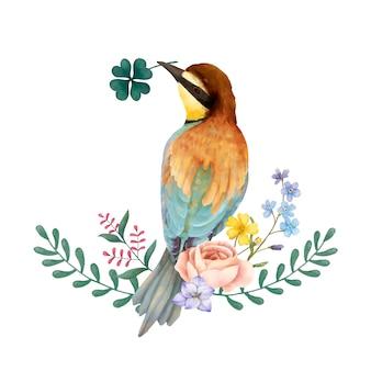 Ilustración del pájaro del comedor de abeja aislado en el fondo blanco