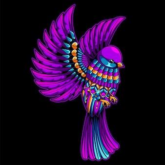 Ilustración de pájaro hermoso, mandala colorido zentangle