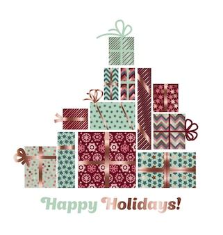 Ilustración de paking de navidad de color oro rosa abstracto.