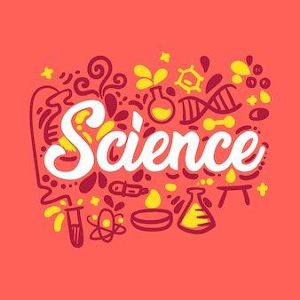 Ilustración de palabra de ciencia con colección de elementos