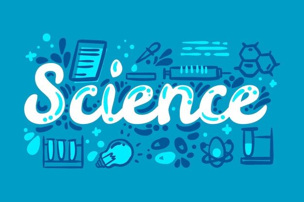Ilustración de palabra ciencia con conjunto de elementos