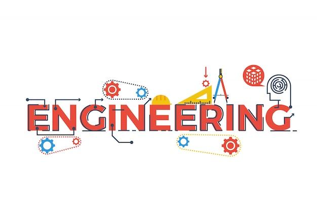 Ilustración de la palabra ingeniería en stem - ciencia, tecnología, ingeniería, matemáticas c