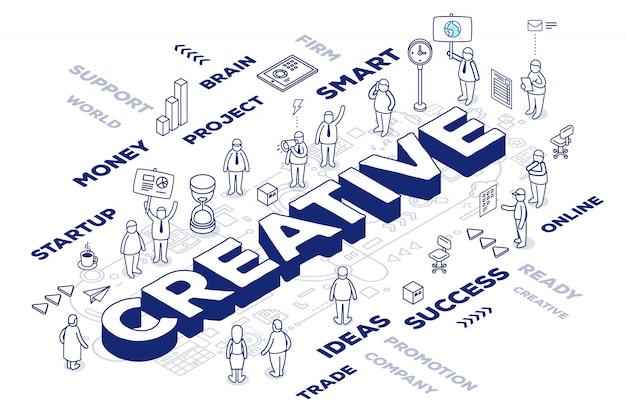 Ilustración de la palabra tridimensional creativa con personas y etiquetas sobre fondo blanco con esquema.