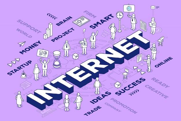 Ilustración de la palabra tridimensional internet con personas y etiquetas sobre fondo morado con esquema.