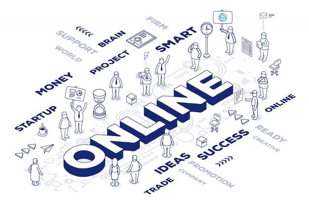 Ilustración de la palabra tridimensional en línea con personas y etiquetas sobre fondo blanco con esquema.