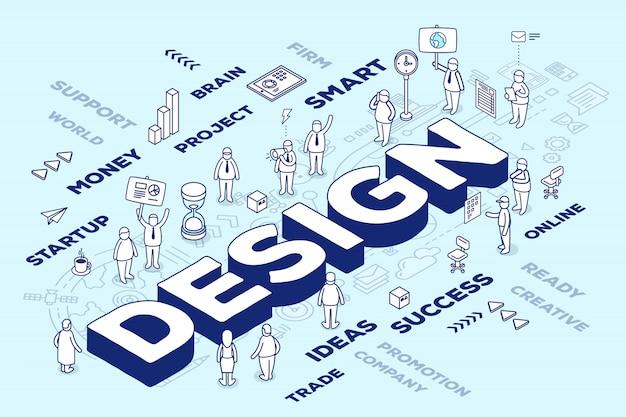 Ilustración de la palabra tridimensional con personas y etiquetas sobre fondo azul con esquema.