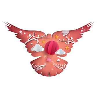Ilustración de la paloma de papel.