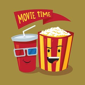 Ilustración de palomitas de maíz y soda de dibujos animados de tiempo de película