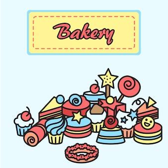 Ilustración de la panadería y pastel de iconos pegatina