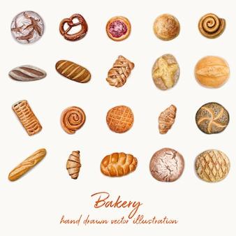 Ilustración de panadería vista superior