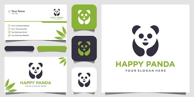 Ilustración de panda la cabeza de panda. sonriente cara de animal. oso de bambú oso chino logotipo. símbolo de carnaval linda foto. y tarjeta de visita