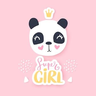 Ilustración de panda lindo divertido personaje animal de dibujos animados