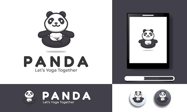 Ilustración de un panda en yoga adecuado para plantilla de logotipo e icono