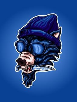 Ilustración de pandillas de lobo bombo