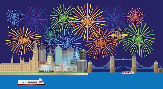 Ilustración del panorama de londres skyline fireworks