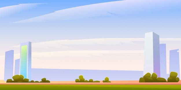 Ilustración panorámica del horizonte del edificio urbano con copyspace