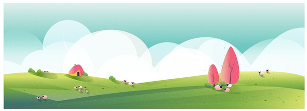 Ilustración panorámica del paisaje de campo. ilustración minimalista de la granja de ovejas en primavera. valle verde con cielo brillante y nubes.