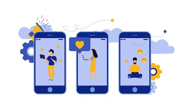 Ilustración de la pantalla móvil del negocio del empleador.