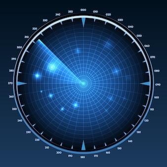 Ilustración de la pantalla de radar.