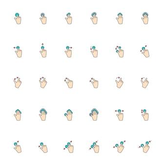 Ilustración de pantalla táctil con gesto de manos en línea delgada