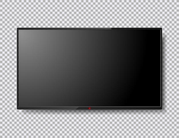 Ilustración de pantalla de tv realista aislada con botón rojo