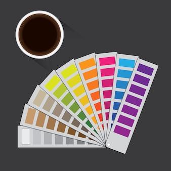 Ilustración de pantone con un fondo gris y una taza de café.