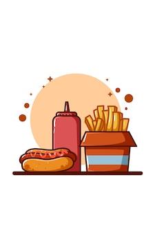 Ilustración de papas fritas, salsa y hotdog