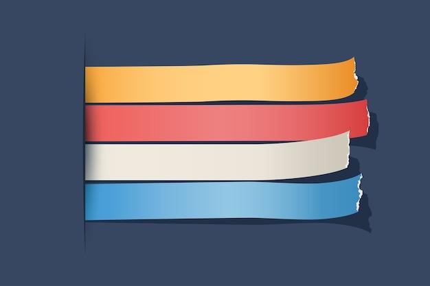 Ilustración de papel colorido horizontal rasgado
