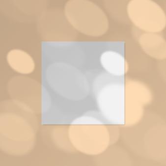 Ilustración de papel cuadrado con efecto de superposición de sombra de luz moteada realista.
