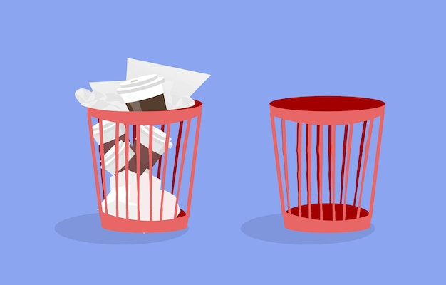 Ilustración de papelera de plástico de oficina con papeles arrugados