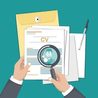 Ilustración de papeles cv para contratar nuevas personas para el trabajo.