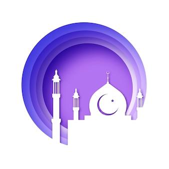 Ilustración de papercut de ramadán kareem