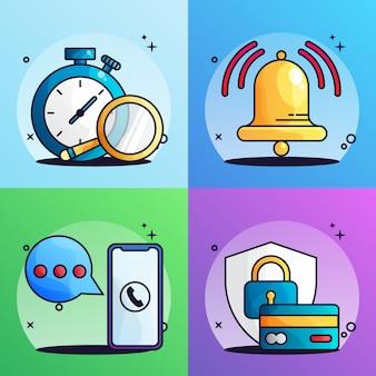 Ilustración del paquete de cronómetro, notificación, servicio al cliente y tarjeta de crédito segura