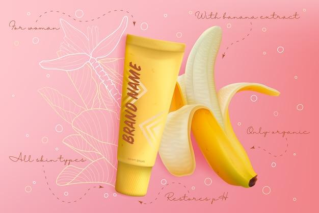 Ilustración de paquete de cuidado de piel de cosméticos de plátano. producto realista en gel o crema para el cuidado de la piel de la cara con extracto de plátano natural, empaque en botella de tubo amarillo, fondo de maqueta de cosmetología