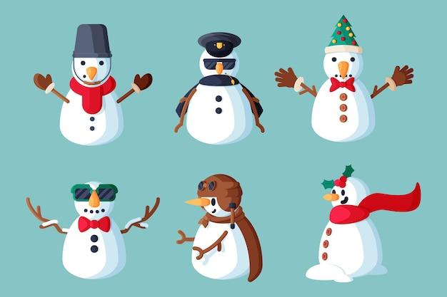 Ilustración de paquete de personajes de muñeco de nieve de diseño plano