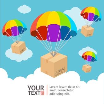 Ilustración. paracaídas con envío y tarjeta nubes.