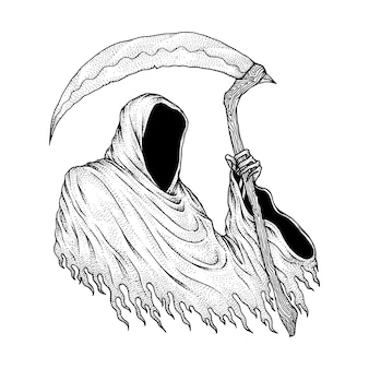 La ilustración del parca, dibujado a mano