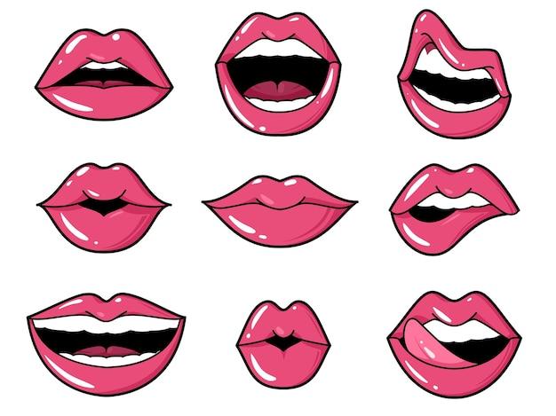Ilustración de parches de labios