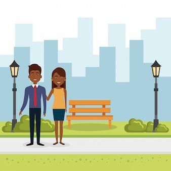 Ilustración de la pareja de amantes en el parque
