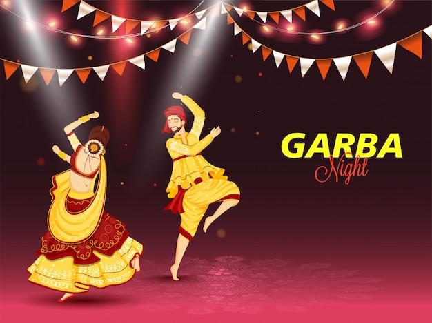 Ilustración de pareja bailando en ocasión del concepto de celebración de garba night