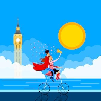 Ilustración de una pareja en una bicicleta frente al big ben. tarjeta de felicitación para el día de san valentín