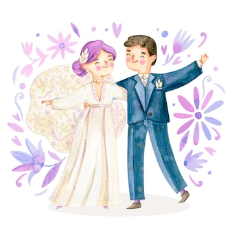 Ilustración de pareja de boda acuarela