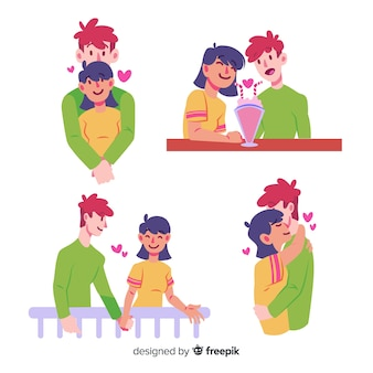Ilustración de pareja en una cita