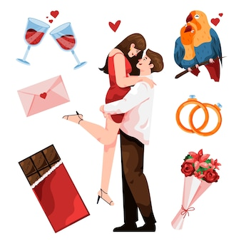 Ilustración de pareja con elementos