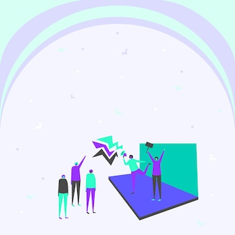 Ilustración de la pareja en el escenario haciendo un nuevo anuncio en voz alta a la pequeña multitud. gente dibujando líneas en el escenario promoviendo fuertes anuncios tardíos en pocas multitudes.